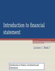 LECTURE 2 INTRODUCTION TO FINANCE AND FINANCIAL STATEMENTS (1)