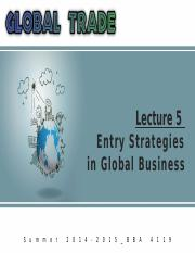 Summer '15_Global Trade_Lecture 5_Part 1