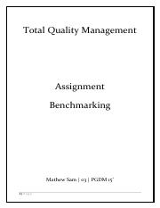 Benchmarking - Mathew Sam
