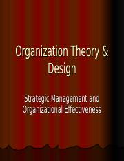 Lecture 4 Organizational Effectiveness Organization Theory Design Strategic Management And Organizational Effectiveness Definition Of Strategic Course Hero