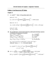 Chemistry for Engineers - Assignment 7 Solutions