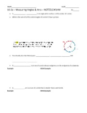 10-2a – Measuring Angles & Arcs – NOTESCWHW