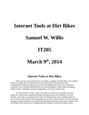 week 4 assignment Internet Tools at Dirt Bikes