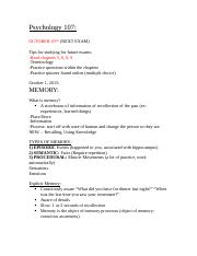 Psych. 107- Exam 2 Content Notes