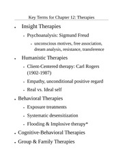 Ch. 12, Therapies Review Terms