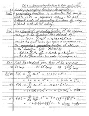 Chapter 7 Lecture on Generating Functions