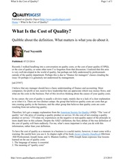 What is the Cost of Quality