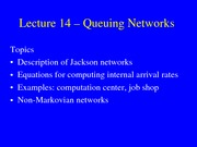 15. Queuing Networks (OR Models)