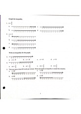 Algebra Pre-AP Review #2 Multiple Choice + Answers on Graphing Inequalities