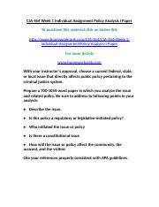 CJA 464 Week 1 Individual Assignment Policy Analysis I Paper.doc