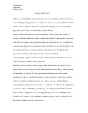 Anatomy and Culture Essay