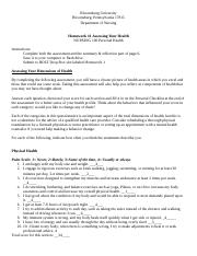 Homework 1 Dimensions of Health Worksheet to Complete