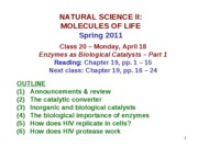 MOL CLASS 20 - Enzymes as Biological Catalysts (Part 1) (COMPLETE NOTES)