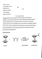 Lab Report: synthesis of acetylferrocene