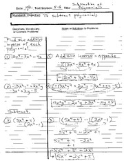 ALGEBRA 5-8 (Notes) Subtraction of Polynomials
