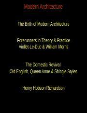 Lect 16_Modern-Birth ppt - Modern Architecture The Birth of Modern