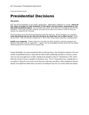 W7 Discussion Presidential Decisions