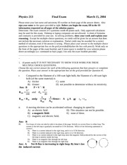 Sample Final Exam on General Physics