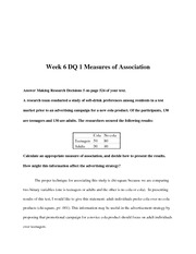 BUS 642 Week 6 DQ 1 Measures of Association