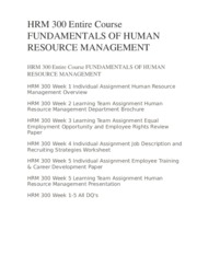 HRM 300 Entire Course FUNDAMENTALS OF HUMAN RESOURCE MANAGEMENT
