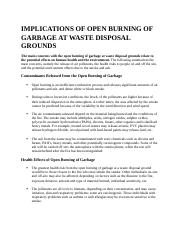 IMPLICATIONS OF OPEN BURNING OF GARBAGE AT WASTE DISPOSAL GROUNDS.docx