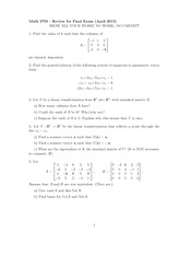 Final Exam Review Spring 2013 on Linear Algebra