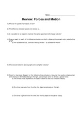 Week 6 Assignment - Forces & Motion Review (Physics Honors)