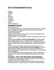 Six Environmental Forces notes