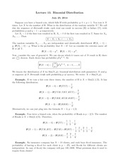 Lecture 13 on Binomial Distribution