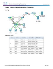 10.3.1.2 Packet Tracer - Skills Integration Challenge Instructions