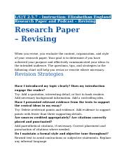2.5.7 - Instruction - Elizabethan England Research Paper and Podcast - Revising.docx