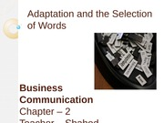 Chapter 2 - Adaptation and the Selection of Words