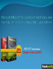 Microsoft MB2-877 Microsoft Certified Professional Exam Quick Tips To Pass (May 2018) Updated Exam.p
