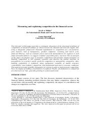 Measuring and explaining competition in the financial sector_tcm47-213145.pdf