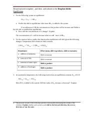 chem hw Le Chatelier's Practical home work