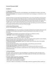 Financial Management - Samenvatting
