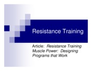 Resistance Training- Physiology