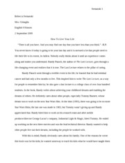 English - The Last Lecture - Book Report