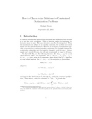How to Characterize Solutions to Constrained Optimization Problems