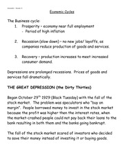 Economic Cycle Notes