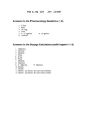 Nursing130PharmacologyAnswers