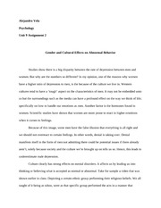 Unit 9 Assignment 2 Gender and Cultural Effects on Abnormal Behavior