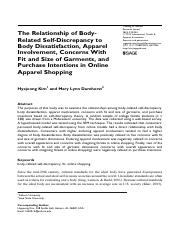 Week # 4 - The Relationship of Body-Related Self-Discrepancy - Clothing & Textiles Resaerch J (2010)