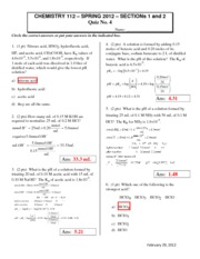 2012 CHEM112 Quiz4 Section1-2 Answers