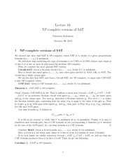 CMPT 308  NP-complete versions of SAT Notes