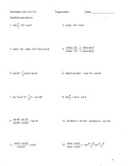 Printables Trig Identities Worksheet 3.4 Answers 2 4 5 a worksheet over trigonometry name name