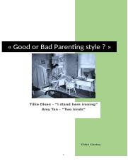 Essay 1 - Good or Bad Parenting Style