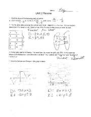 Unit 2 Review Doman and Range Solutions