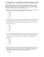Classical Conditioning Docx Classical Conditioning Practice