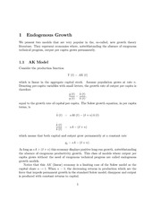 Endogenous Growth Notes